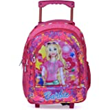 Muskan Creation Soft Fabric Wheels Trolley Multicolour Travel School Backpack for Girls and Boys