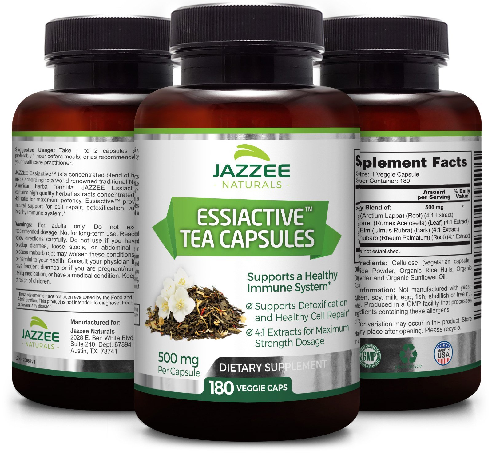Essiac Tea Capsules | 500 mg per Capsule | 4X Concentrated Extract is the Strongest Essiac Supplement Available | 180 Veggie Capsules | Vegetarian / Vegan | Supports a Healthy Immune System by Jazzee Naturals