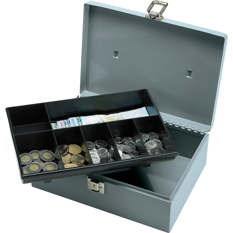 キャッシュボックスwithラッチロック、2キー、7コンポーネント、メジャー11 x 7 – 3 / 4 x 4インチグレーで B01J2Y8IUI