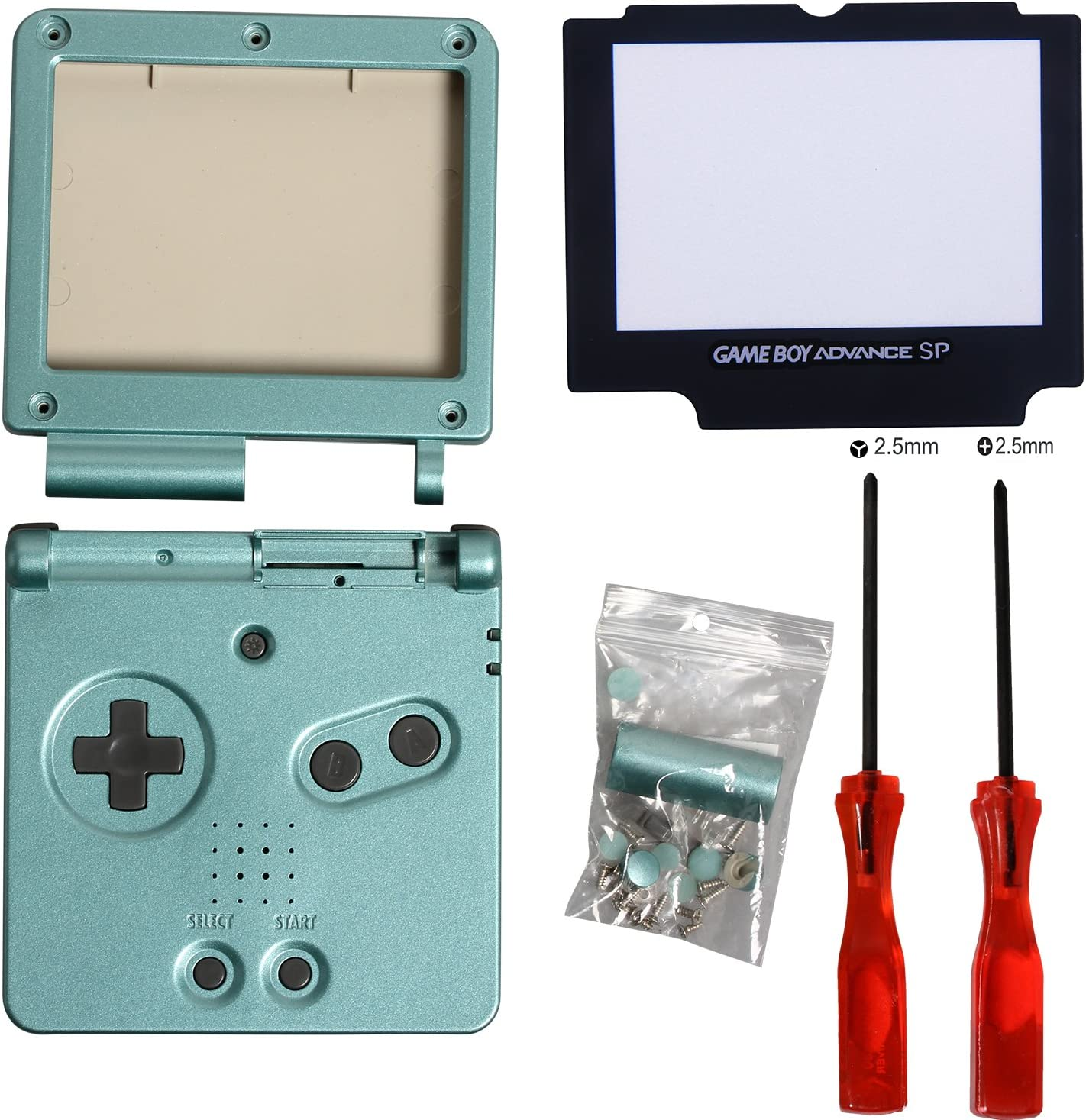 Timorn Full Parts Housing Shell Pack Replacement for GBA SP Gameboy Advance SP (Green Pack)