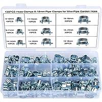 WiMas Brandstofleiding slangklemmen waterbuis luchtslang verzinkt siliconen vacuüm slangklem bevestiging, 135 stuks 8-18…