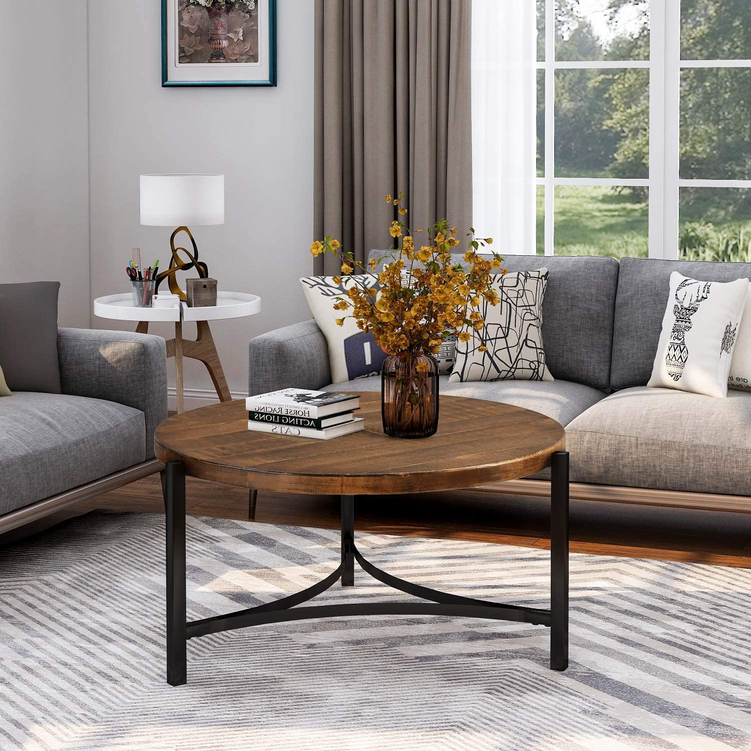 Round Coffee Table Tea Table Round Coffee Table for Living Room with Metal Legs
