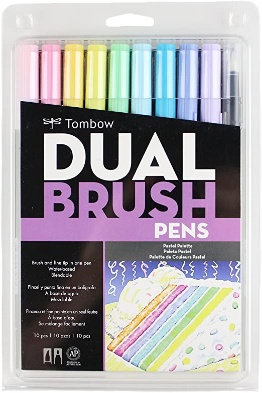 Tombow Art Dual Brush Pens Pastel Colours Pack of 6