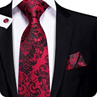 Hi-Tie Red Black Floral Jacquard Woven Silk Tie Necktie Handkerchief Cufflinks Set