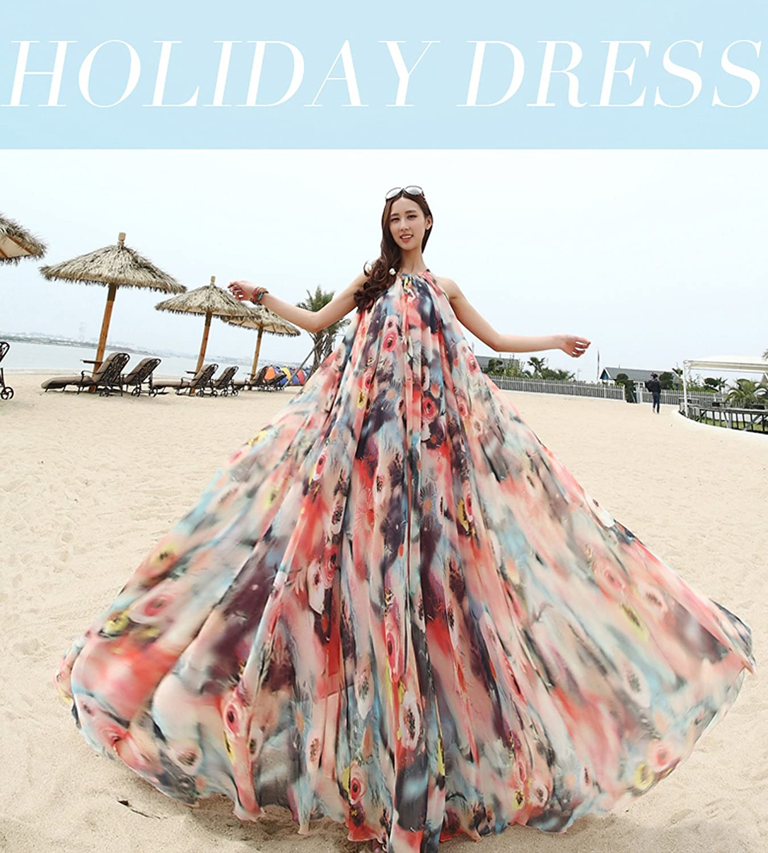 eb6550b4851 Medeshe Women s Chiffon Floral Holiday Beach Bridesmaid Maxi Dress Sundress  larger image