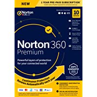 Symantec New Norton 360 Premium-Antivirus Software for 10 Devices, with Vpn, Backup & Dark Web Monitoring Powered By Lifelock-Key Card