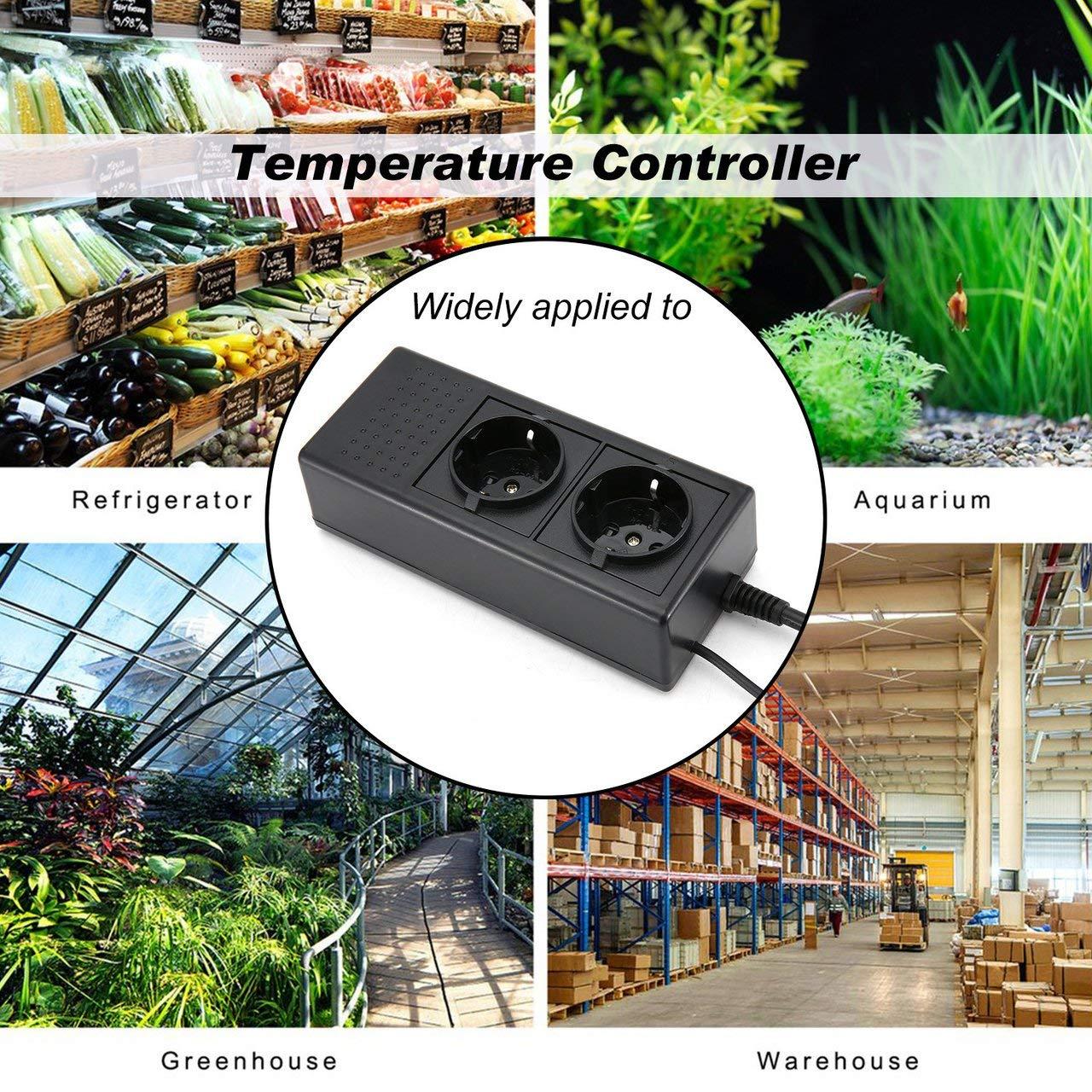 ESjasnyfall Controlador de temperatura del dispositivo de temporizador de calentamiento DTC-120 para el control de temperatura del terrario de invernadero Fermentador Homeboy de Carboy negro