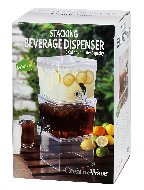 Amazon Com Creativeware  5 Gallon Stacking Beverage Dispenser Clear Countertop Soap Dispensers Iced Beverage Dispensers