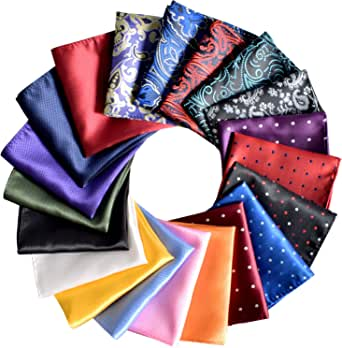 Pocket Squares for Men 20 Pack Mens Pocket Squares handkerchiefs Set Assorted Colors with Gift Box