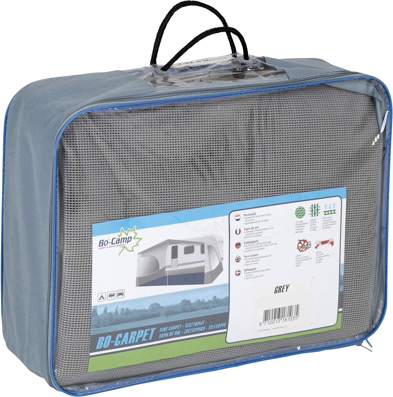 Camping Wohnwagenteppich Zelt grau Bocamp Vorzeltteppich Soft 250x450 waschbar ZUSCHNEIDBAR weich ohne Ausfransen formfest mit Aufbewahrungstasche und Befestigungs Clips leicht