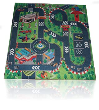 road racing track toddler city play mat kids floor activity children toy truck car grand prix