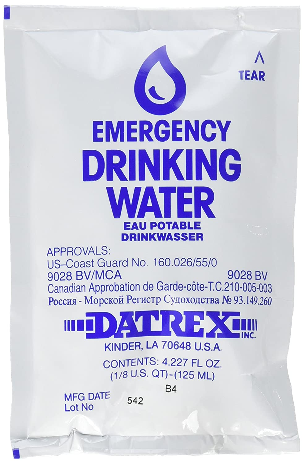 Datrex Emergency Survival Water Pouch (Pack of 66), 125 Milliliter