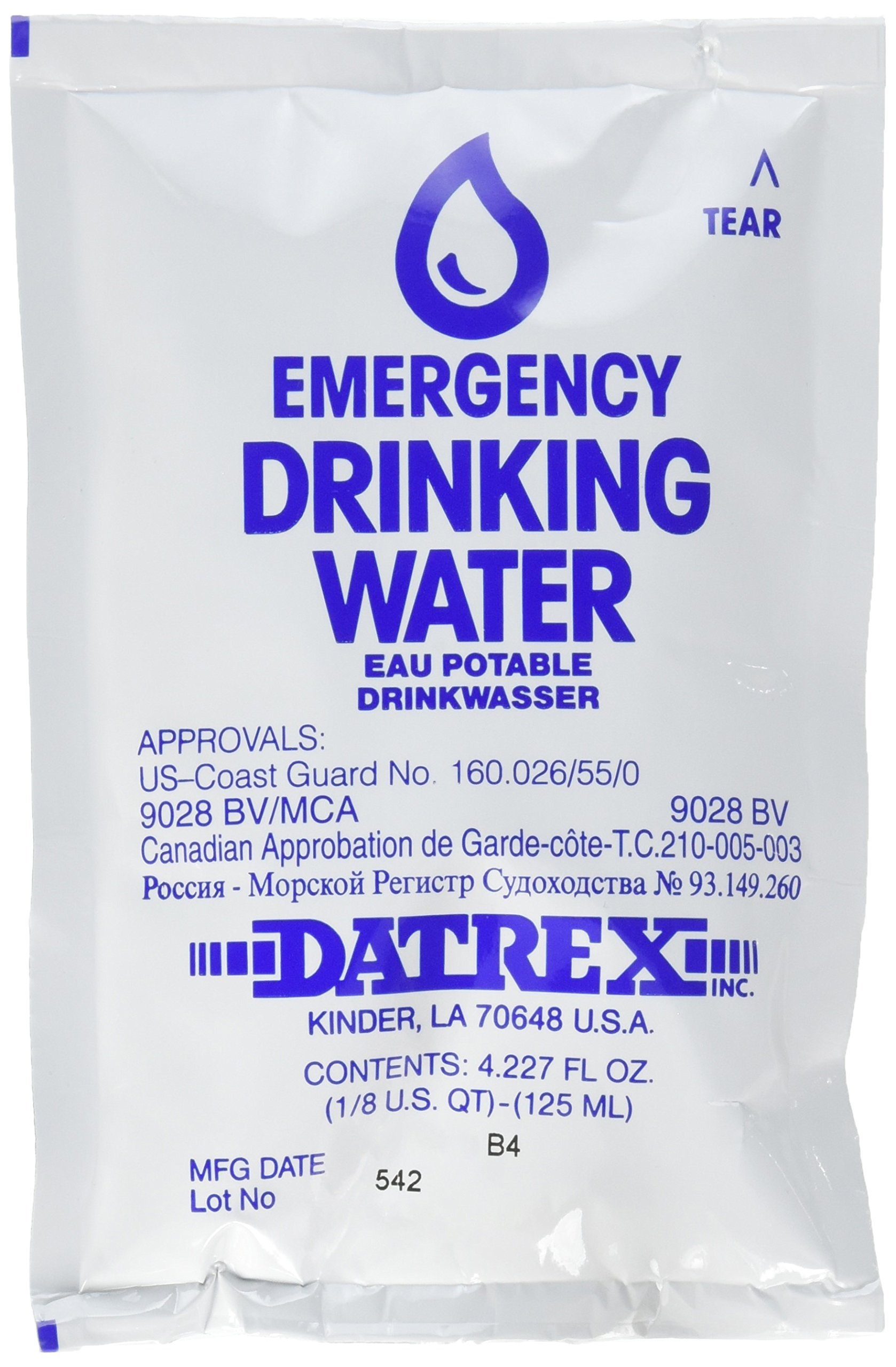 Datrex Emergency Survival Water Pouch (Pack of 66), 125 Milliliter by Datrex