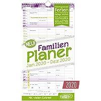 FamilienPlaner 2020 mit 5 Spalten, 23 x 42 cm | Wandkalender Januar - Dezember 2020 | Familienkalender Wandplaner: Ferientermine, viele Zusatzinfos + Vorschau bis März 2021