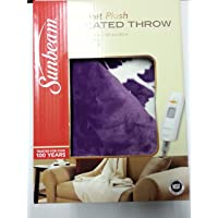 Sunbeam Electric Heated Throw Blanket Microplush Washable 3 Heat Setting Auto-Off Purple Floral