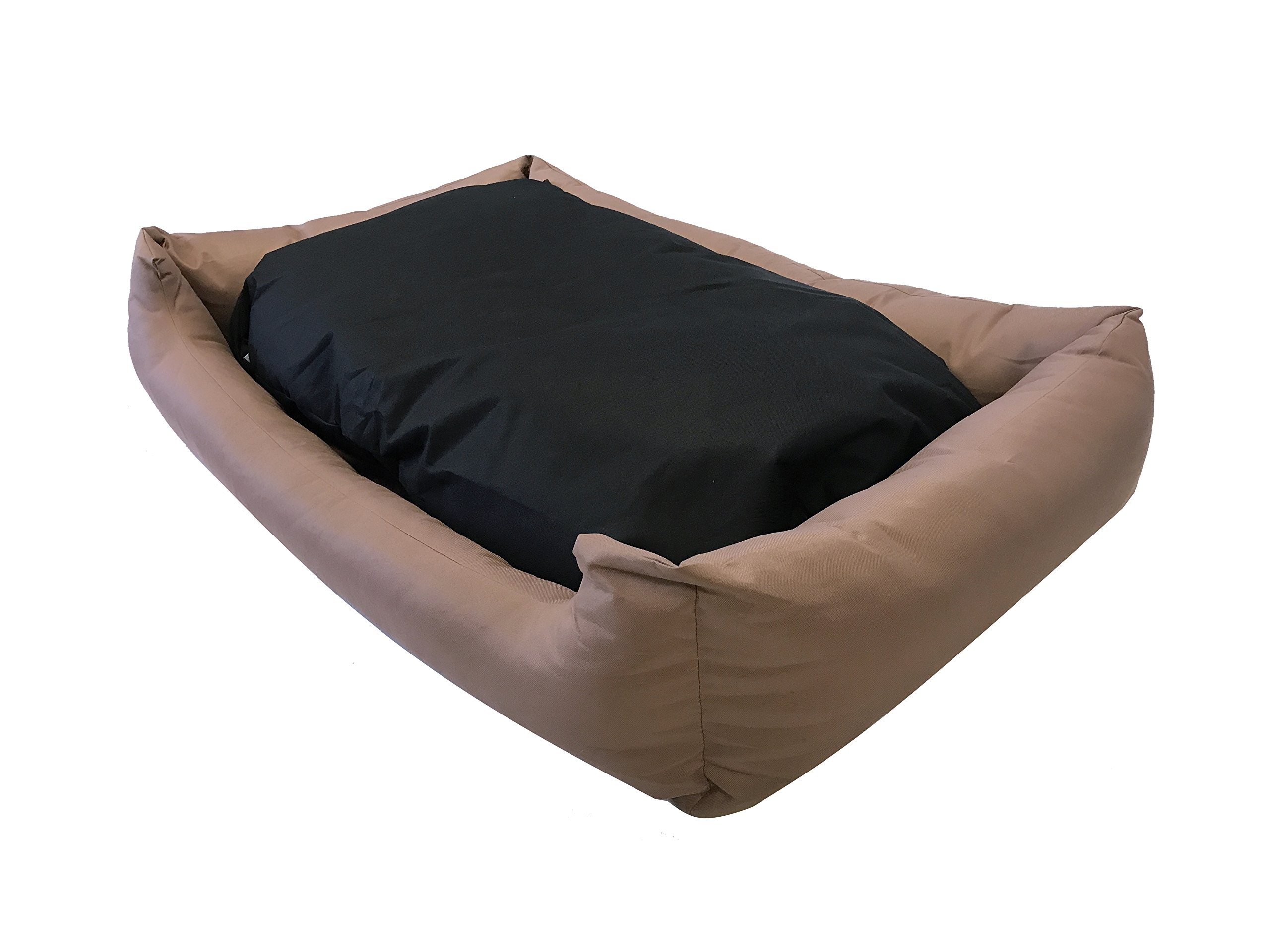 eConsumersUSA Dog Bed Stuffed Pillow with Polyester filling; Durable External OXFORD fabric Waterproof Anti Slip Cover and Inner Liner Included for Small to Large Dogs (48x30 inches, Brown)