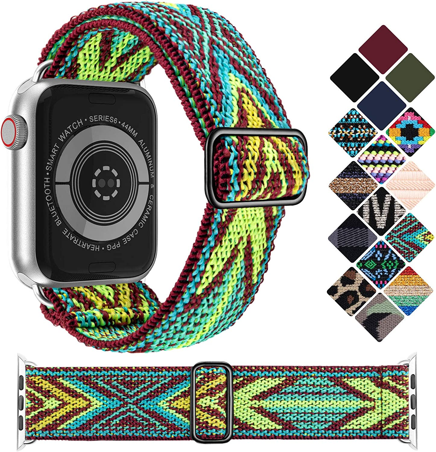 KRISVI Nylon Braided Solo Loop Apple Watch Bands 38mm 40mm, Patterned Adjustable Elastic Apple Watch Bands Women Men, Compatible with iWatch Series 6 5 4 3 2 1 SE(Green Arrow 38/40)