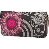styleBREAKER monedero con motivo de flores étnicas, diseño vintage, cremallera circular, mujeres 02040036, color:Negro