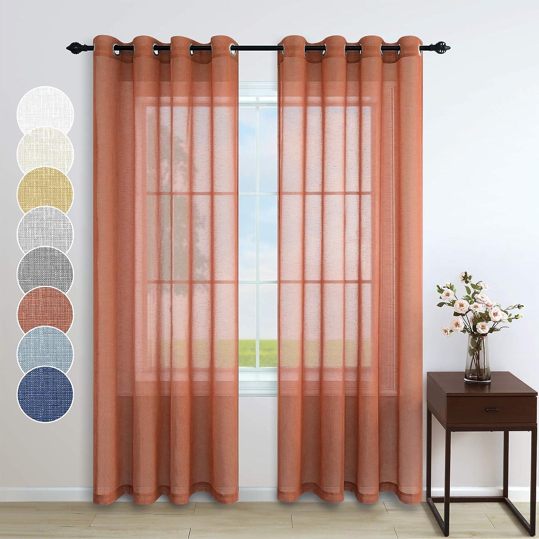 Pitalk Terracotta Curtains for Living Room 2 Panels Grommet Faux Linen Light Filtering Sheer Rust Curtain for Bedroom Burnt Orange Red 52x84 Inch Long