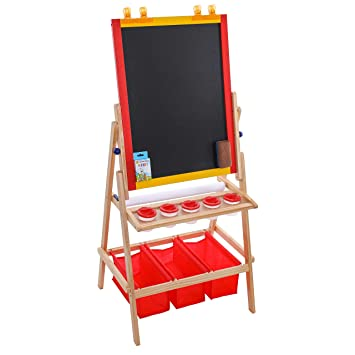 Us Art Supply Flip Over Children S Double Sided Paint And Drawing Art Easel Board With Chalkboard Dry Erase Board Paper Roll 3 Storage Bins 5