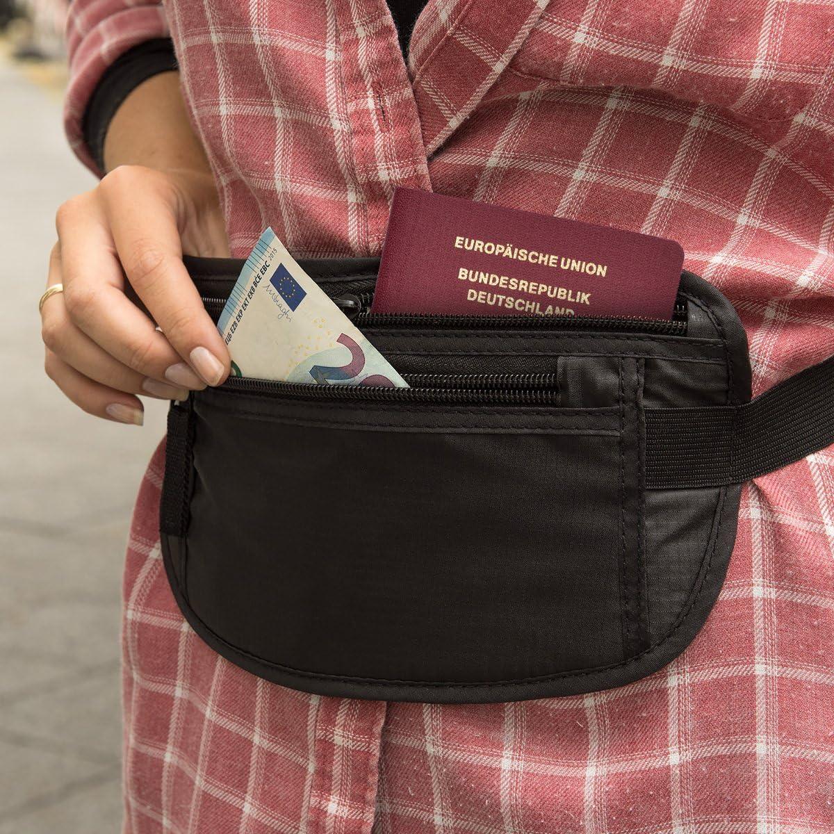 kwmobile Bauchtasche Karten Schutzh/ülle RFID-Blocker Reise-Bauchtasche Dokumententasche Schwarz Unisex Reiseg/ürtel Tasche Flache H/üfttasche mit RFID Schutz f/ür Reisen