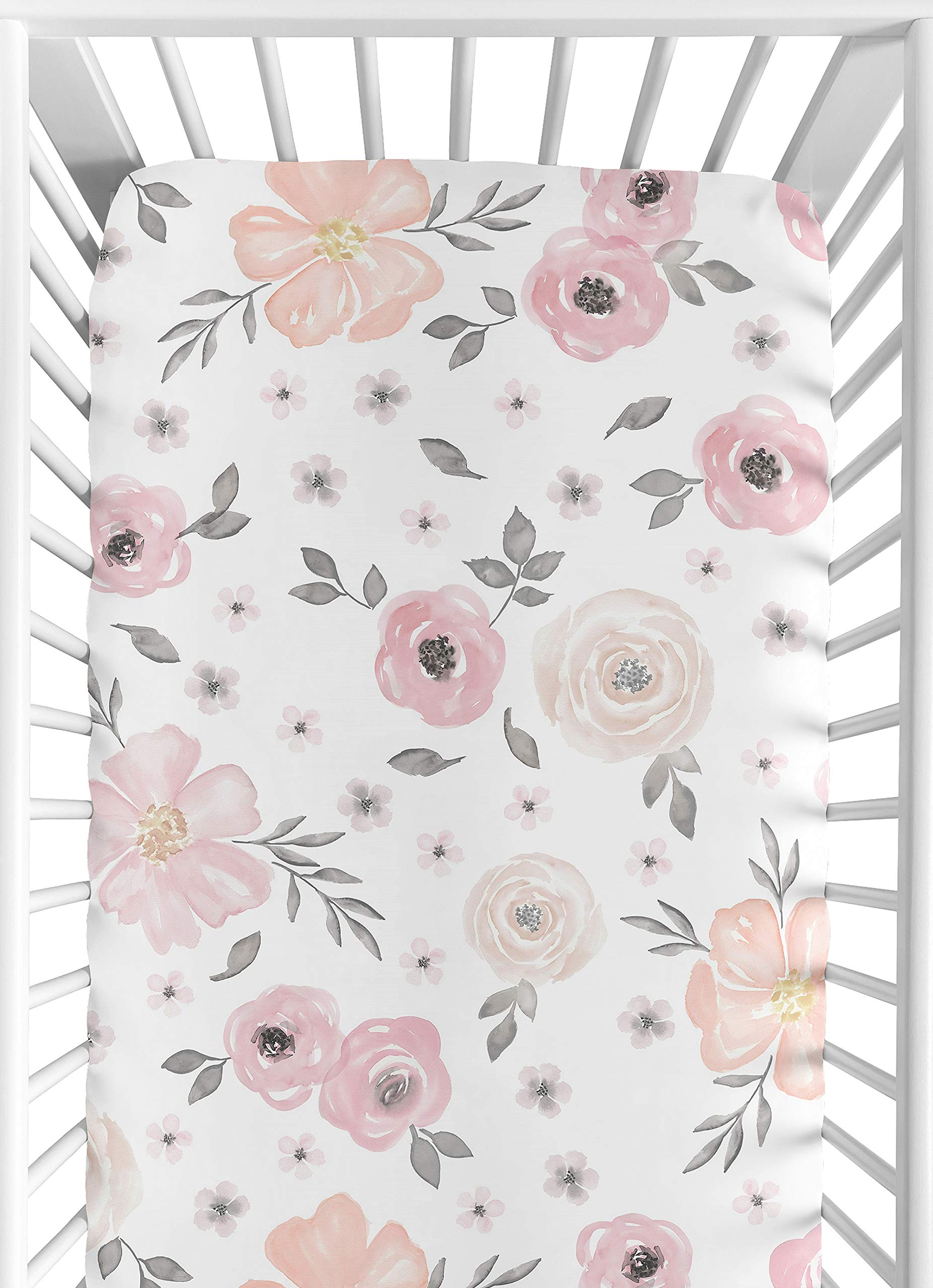 Sweet Jojo Designs Blush Pink, Grey and White Baby or Toddler Fitted Crib Sheet for Watercolor Floral Collection by Sweet Jojo Designs