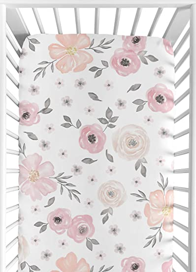 dcb102222 Amazon.com : Sweet Jojo Designs Blush Pink, Grey and White Baby or Toddler  Fitted Crib Sheet for Watercolor Floral Collection : Baby