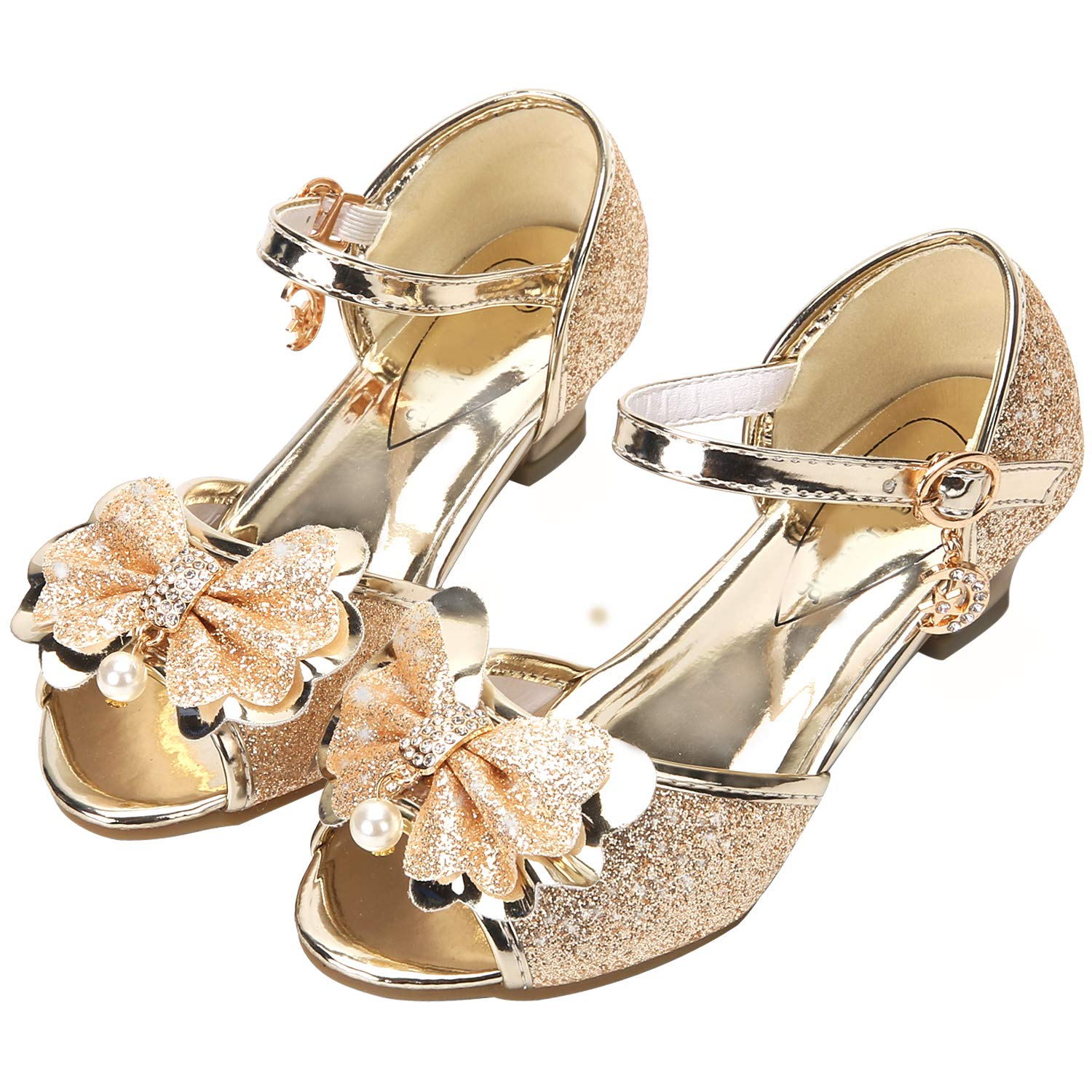 caa65616163 Osinnme FKKFYY Low Heel Sandals for Girls Light Gold Toddler Wedding ...