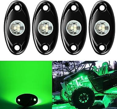 Amak 2 Pods LED Rock Lights Kit Green Underbody Glow Trail Rig Light Waterproof Underglow LED Neon Lights for JEEP Off Road Trucks Car ATV SUV Vehicle Boat Green
