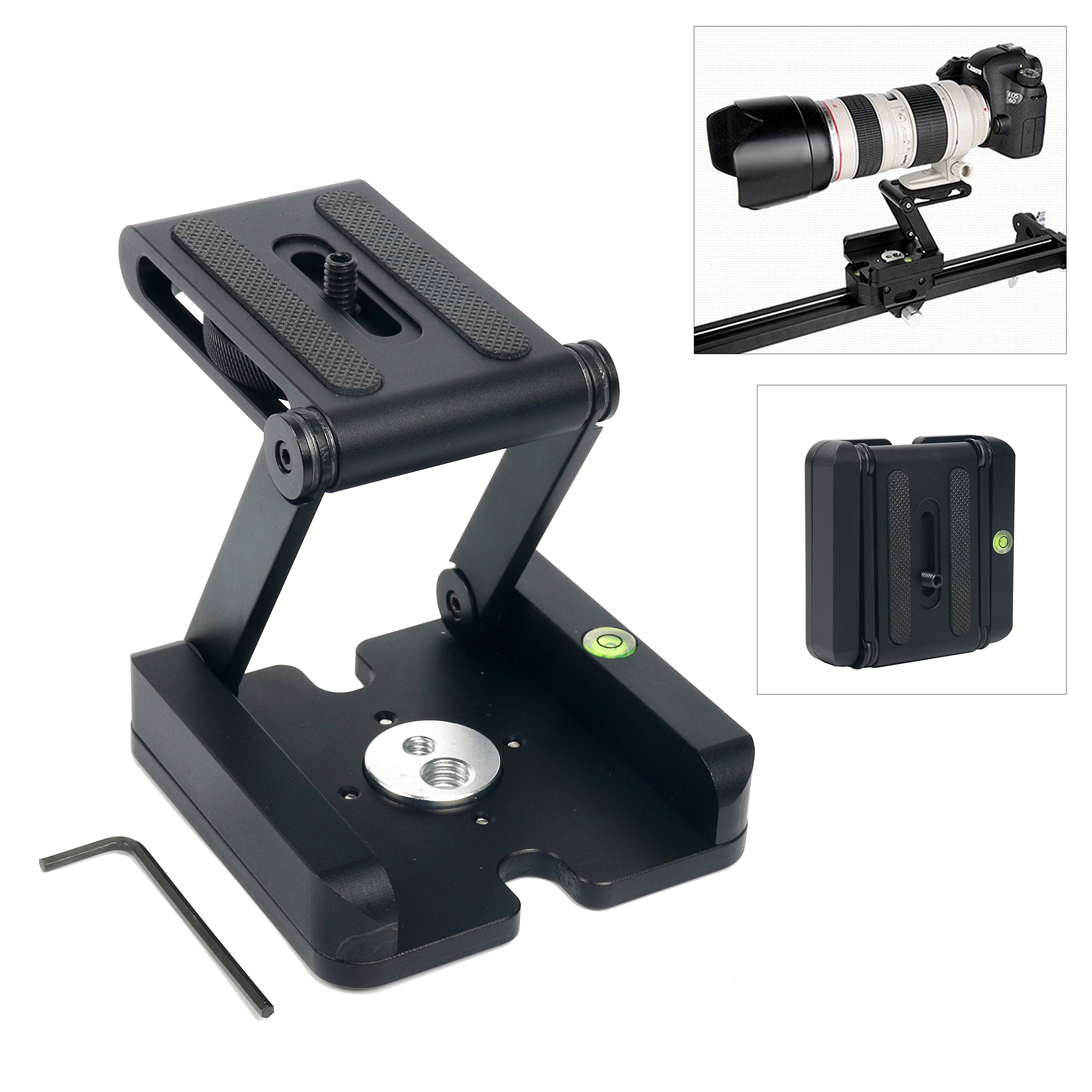 YaeCCC Aluminum Alloy Folding Z Head Desktop Stand Holder Quick Release Plate Compatible with DSLR Camera Camcorder Tripod by YaeCCC