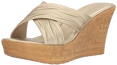 0249affb9949 ITALIAN Shoemakers Women s Bright Wedge Sandal Platinum 9 ...