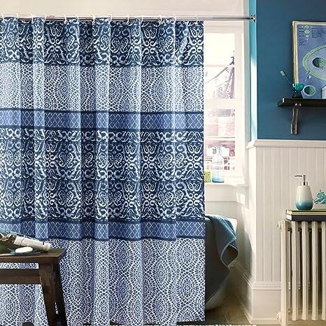 WLH Impermeabile muffa doccia blu e bianca spessa tenda doccia tenda ...