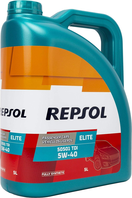 Repsol HMRELI5055405L Aceite DE Motor Elite 50501 TDI 5W40 5 litros, Transparente/Dorado, Talla Única