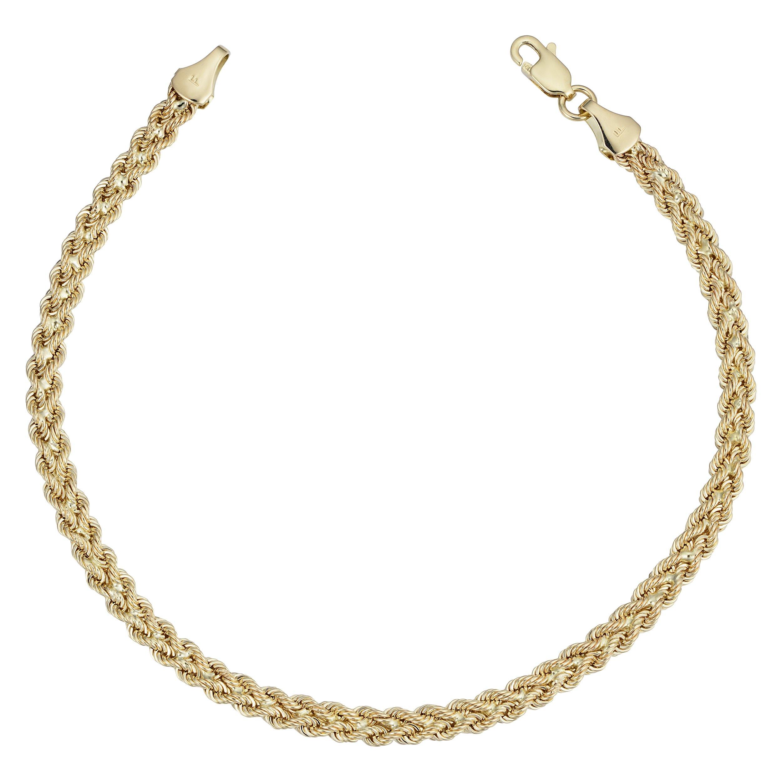 Kooljewelry 14k Yellow Gold Braided Rope Bracelet (3.8 mm, 7.5 inch)