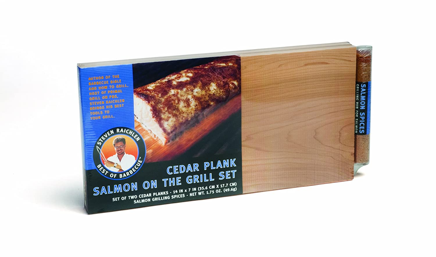 Steven Raichlen Best of BBQ Cedar 2-Plank Salmon Set with Spices Laminvale Ltd SR8075