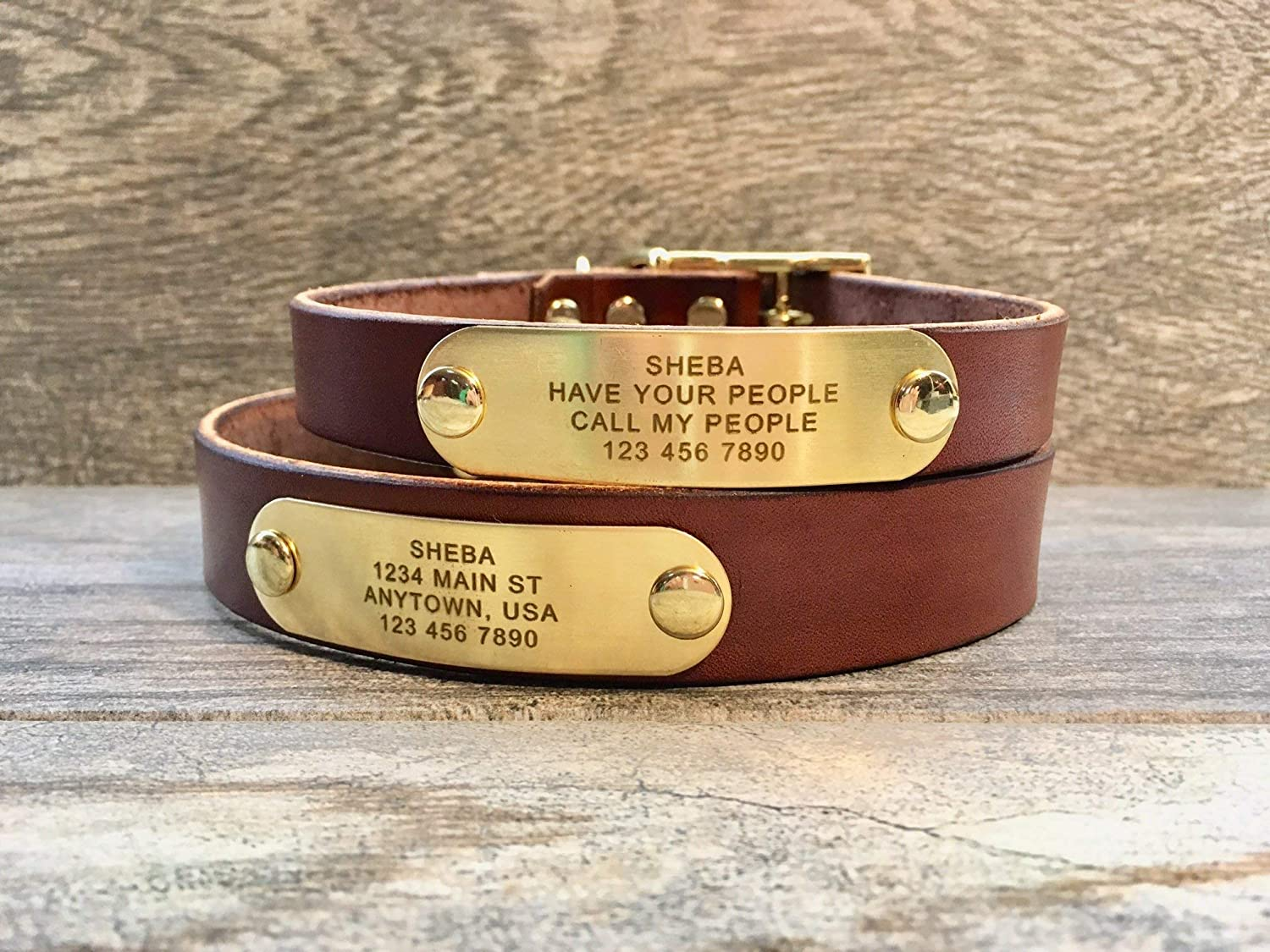 Handmade Personalized Brown Leather Dog Collar with FREE Engraved Name Plate Brass Name Tag
