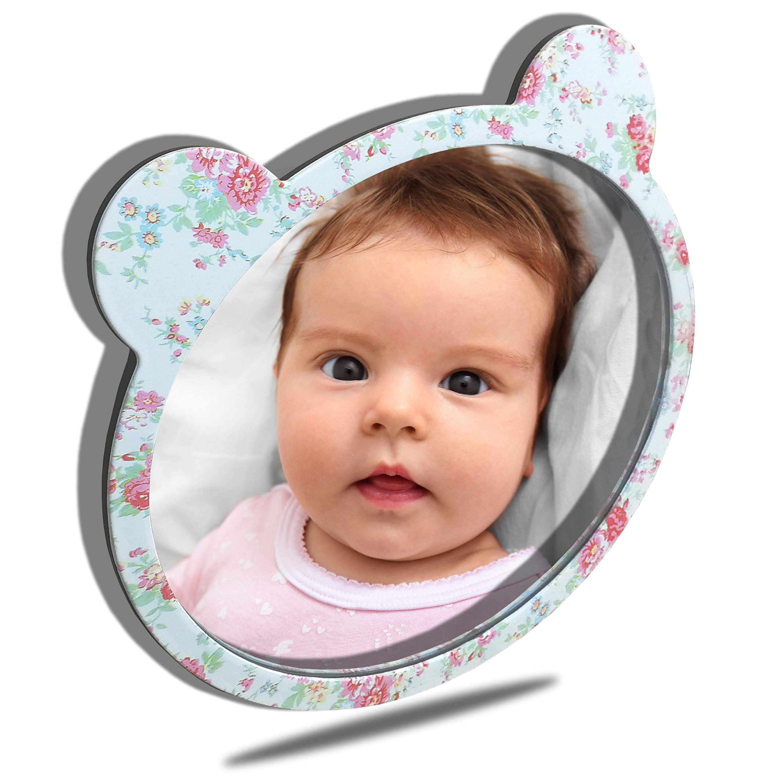 Facekyo Baby Mirror for Car | Baby Car Mirror | Baby Back Seat Mirror | Super Locking System with Rose Printing by FACEKYO