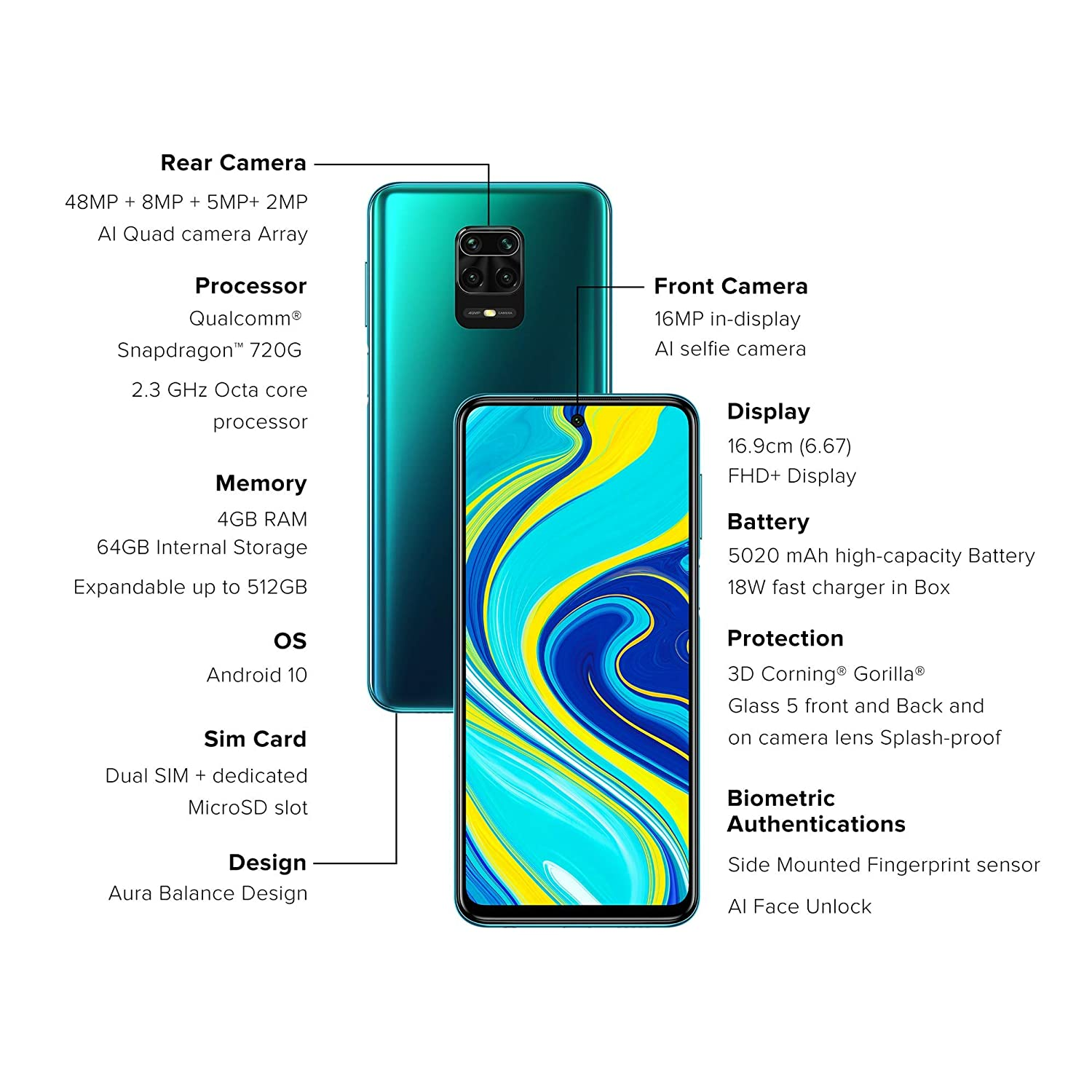 Redmi Note 9 Pro Aurora Blue 4gb Ram 64gb Storage Latest