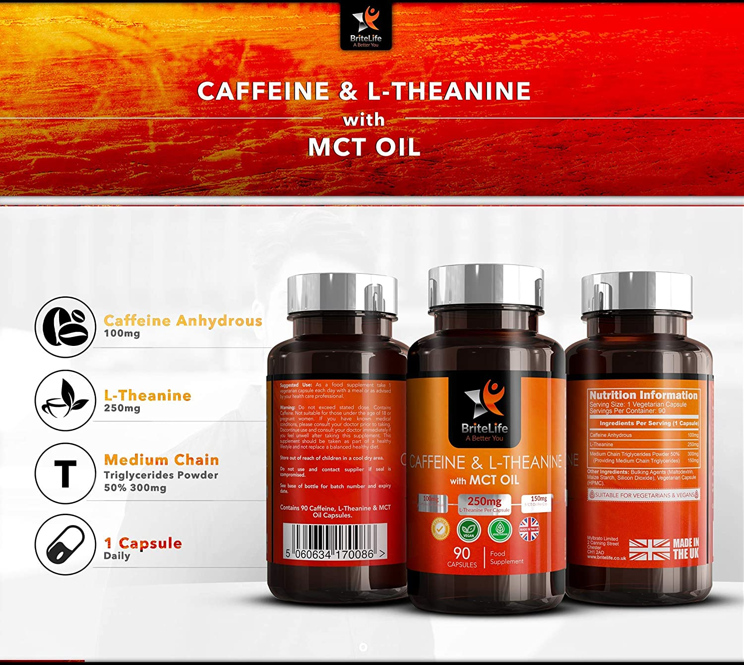 Keto Nootropic Tablets - Caffeine Tablet MCT Oil L Theanine 500mg Advanced Slow Released Energy from Ketogenic Triglycerides - 90 Vegan Caps Non-GMO Gluten Free