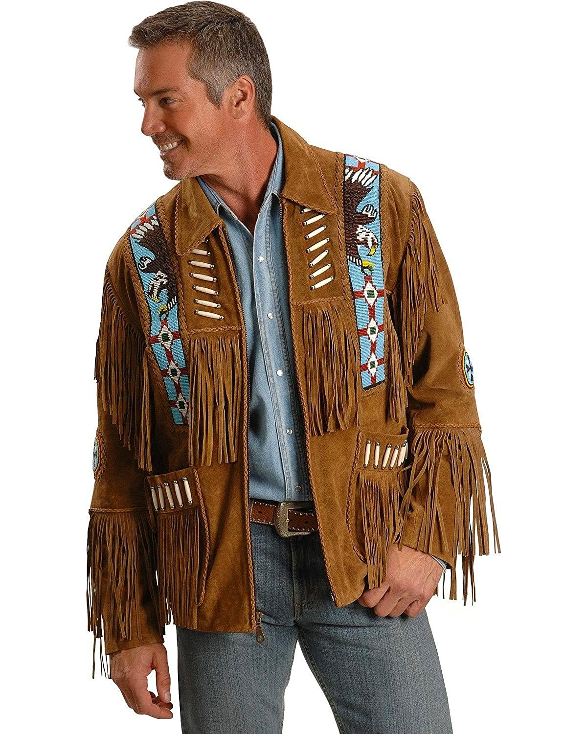 Liberty Wear Men's Eagle Bead Fringed Suede Leather Jacket Big Tall - 485-Tobacco_X 082B37