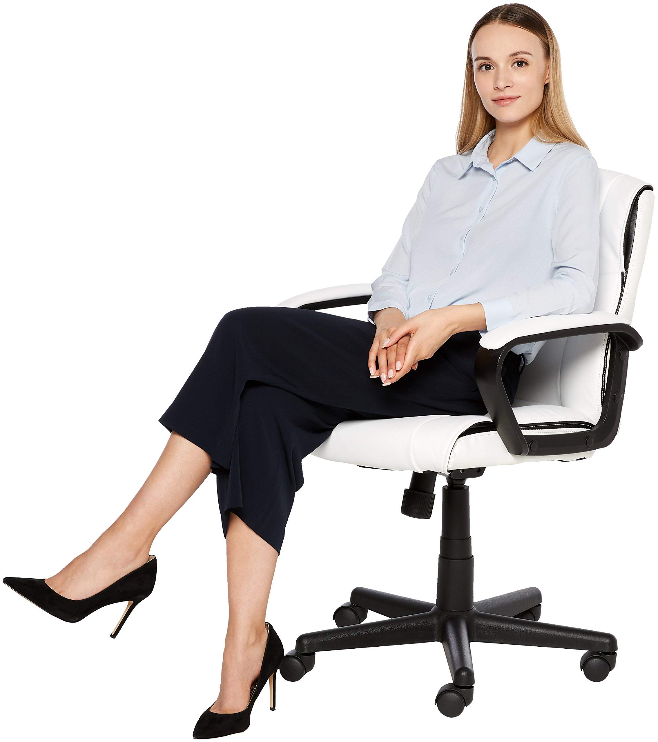 AmazonBasics Classic Leather-Padded Mid-Back Office Computer Desk Chair with Armrest - White by AmazonBasics (Image #8)