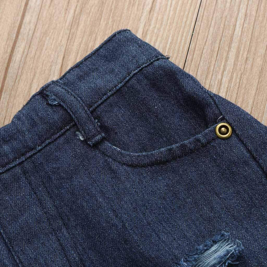 Xshuai Kleinkind Kinder Baby M/ädchen Outfits Blume Rose Tops Denim Shorts Hosen Kleidung Set