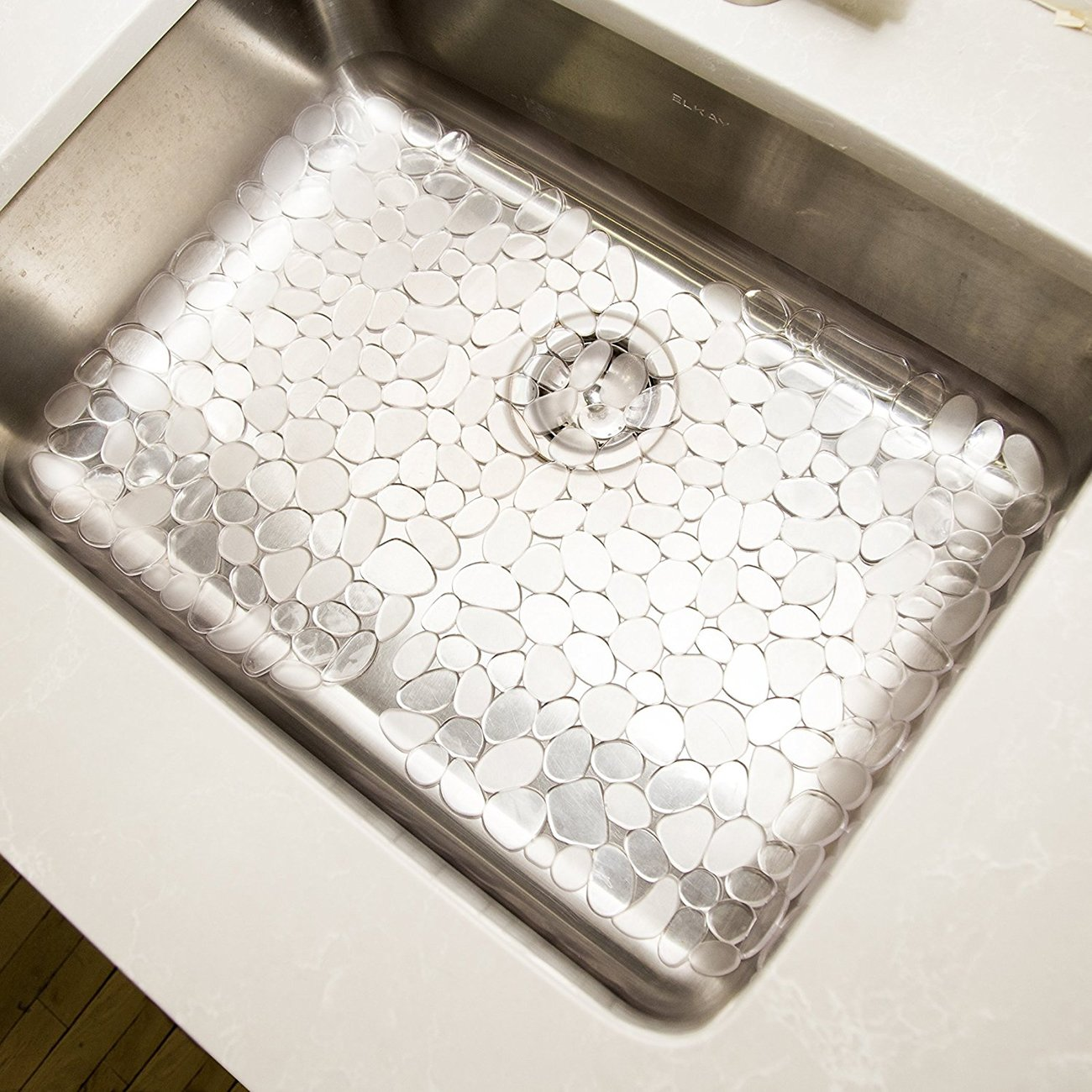 Pebble Kitchen Sink Mat Anti-Bacterial PVC Sink Mat Pad Eco-friendly Kitchen Adjustable Sink Protector by AHYUAN (Clear White 2 Packs) by Ahyuan (Image #1)