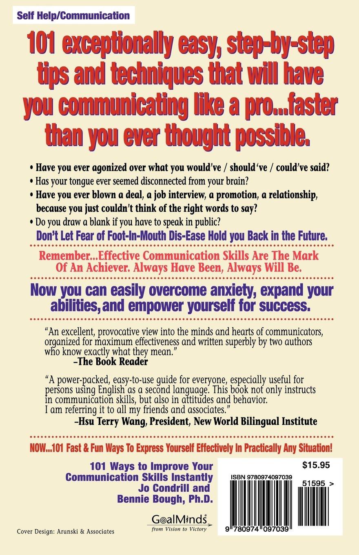 101 ways to improve your communication skills instantly 5th 101 ways to improve your communication skills instantly 5th edition jo condrill bennie bough phd steve ferchaud 9780974097039 amazon books sciox Choice Image