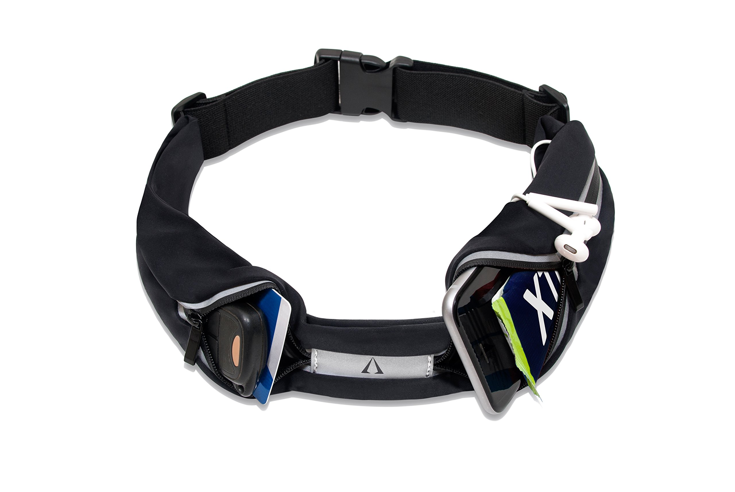 Reflective Running Belt, Water Resistant, Hands Free, Adjustable, Comfortable, Sleek, Light weight, No Bouncing, Holds Any iPhone or Android Device