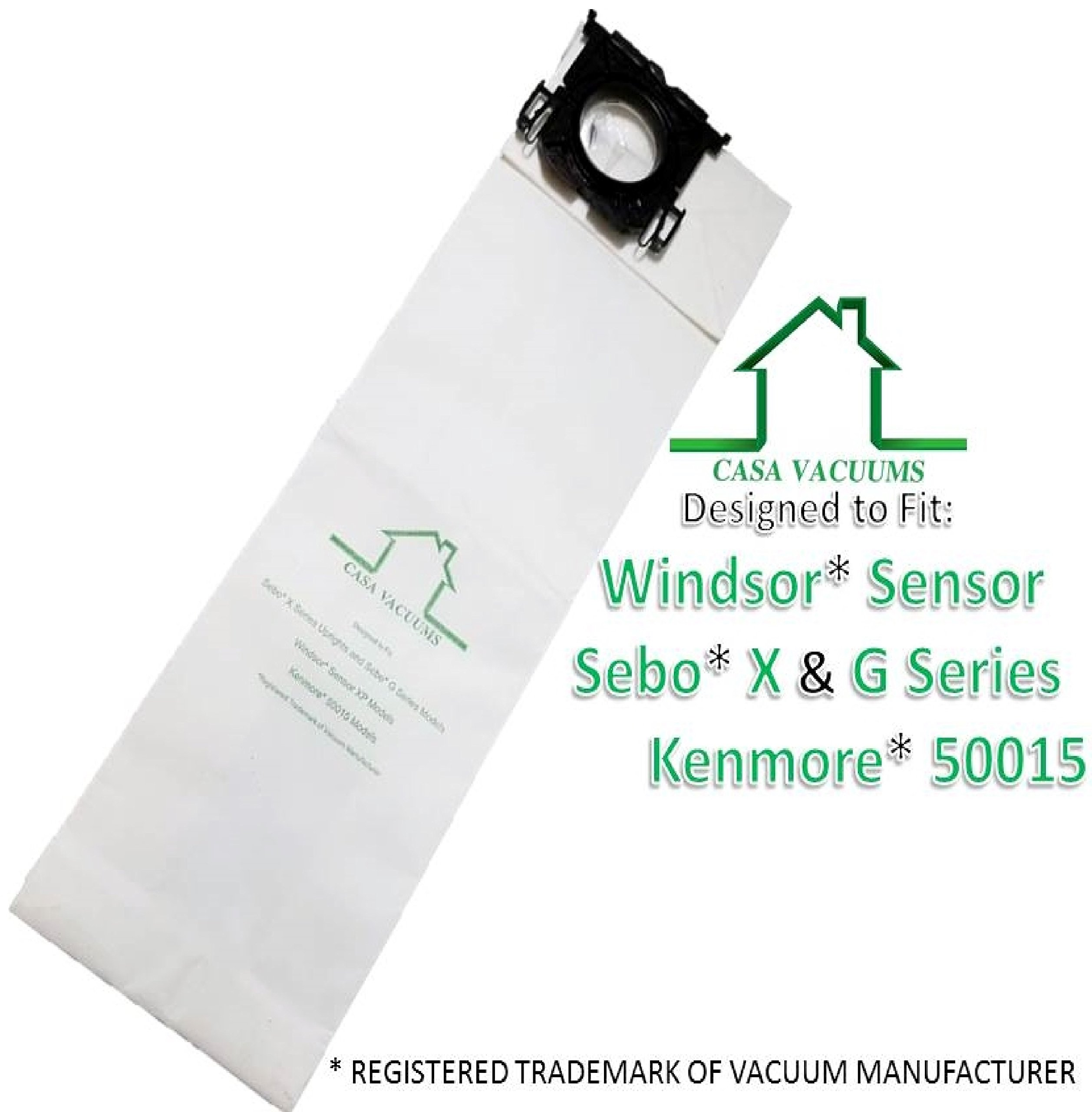 Casa Vacuums replacement for Windsor Sensor, Versamatic Plus, Sebo G X, Kenmore W ALLERGEN Filtration Commercial Upright Vacuum Bags, Fits 5300 86000500 5096Am 6629AM 6629ER 6431ER 50015 by Casa Vacuums