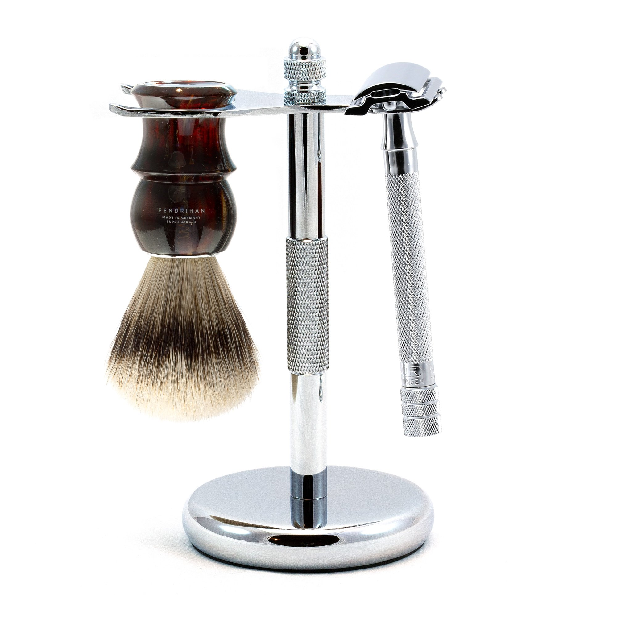 3-piece Shaving Set with Merkur 23c Long-handle Razor and Super Badger Brush, Made in Germany (Tortoise)