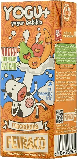 Feiraco Yogu+ Azucarado con Fruta - Paquete de 8 x 600 ml - Total: 4800 ml