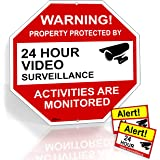 "Video Surveillance Sign From Aluminum 12""X12"" And 2 Warning Under Video Surveillance Camera Stickers Signs For Home,Yard And Business Security UV & Water Resistant 12-Month Warranty By Rivit's gadget"