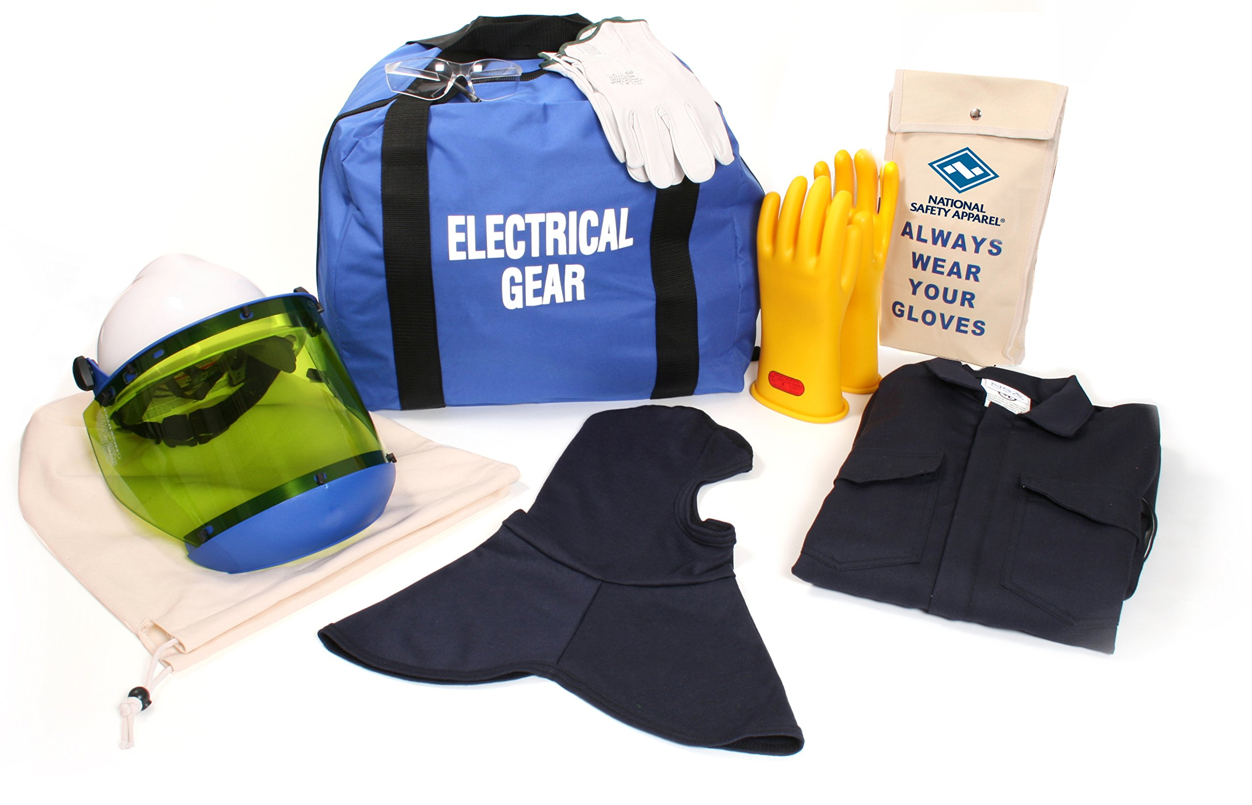 National Safety Apparel KIT2CV11BMD08 ArcGuard UltraSoft Arc Flash Kit with Coverall and Balaclava, 12 Calorie, Medium, Size 8, Navy